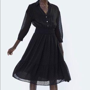 Zara Black Dress with Black Dots